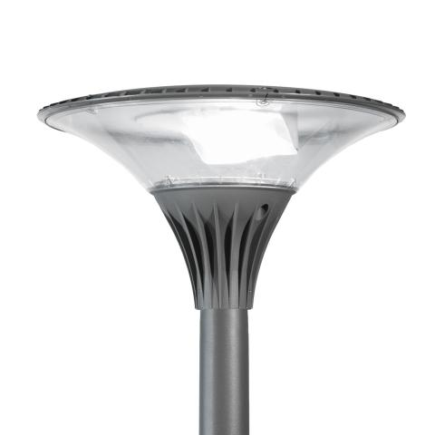 The Zela outdoor LED luminaire offers cost-effective indirect lighting for the creation of ambiance.